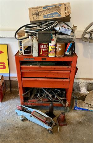 Tool Bench with Contents & Hydraulic Jack