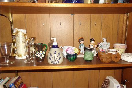 Miscellaneous items on shelf