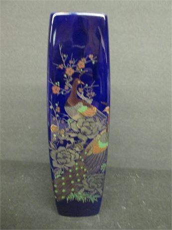 "11"" Cobalt Blue Ceramic Hand Painted Art Pottery Square vase"