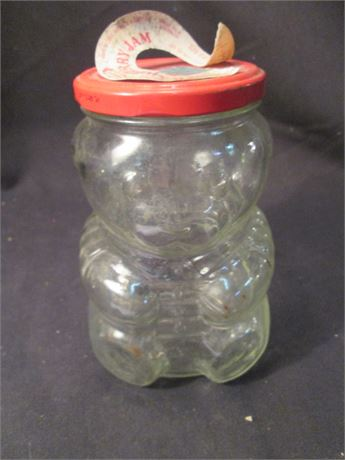 Vintage Teddy Bear Glass Coin Bank Jar new By Kraft