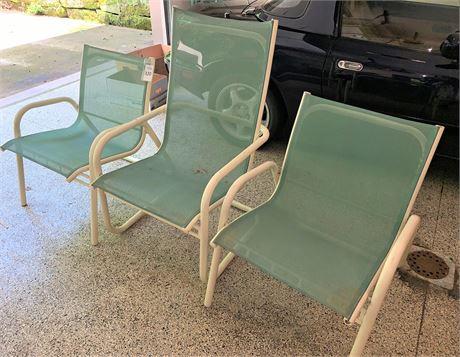 Three Mesh Back Patio Chairs