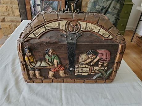 Carved Wood Box / Chest Medieval Theme Forged Hardware
