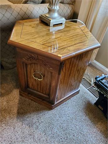 Wood Hexagonal End Table w/ Door + Storage
