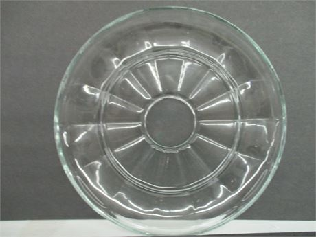"Vintage 11"" Fancy Heavy Clear Glass Cake Serving Dessert Plate"
