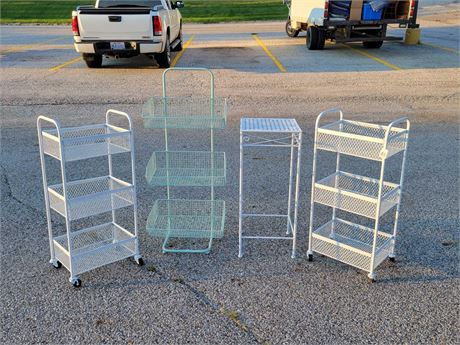 Metal Storage Shelves/Bins and Plant Stand