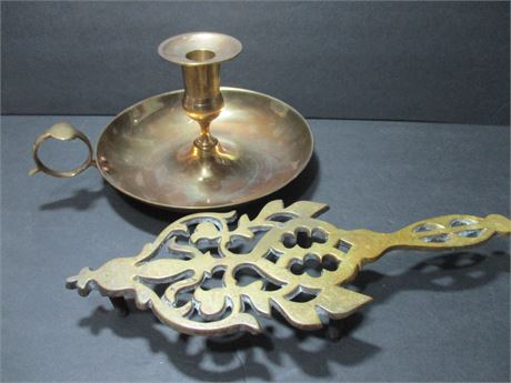 """2 Pieces Brass Candle Holder & Trivet Accessories 12""""  Lot"""