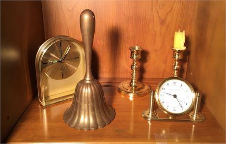 Brass Desk Clocks, Bell, and Candle Sticks