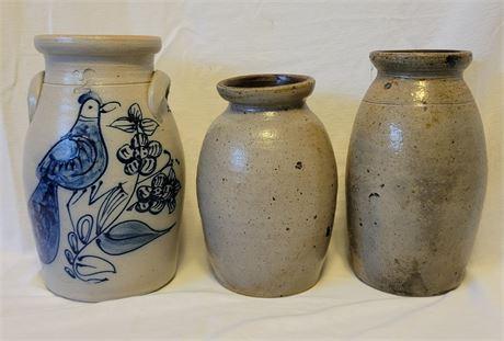 3 Salt Glaze Crocks including Rowe
