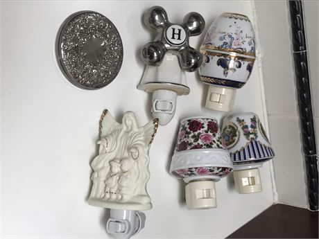 Group of Nightlights and Silver Hand Mirror
