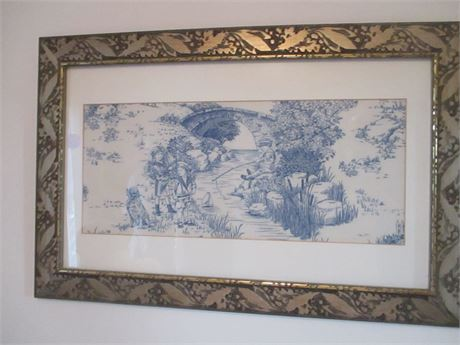 """Vintage Blue Fabric 20"""" X 16"""" Framed Country art Print Picture"""
