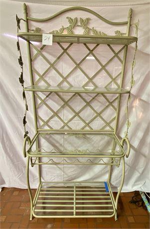 Metal Baker's Rack with Four Glass Shelves (bottom shelf has break at edge)