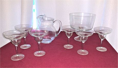 Glass Margarita Pitcher & Glasses and Glass Triffle Bowl