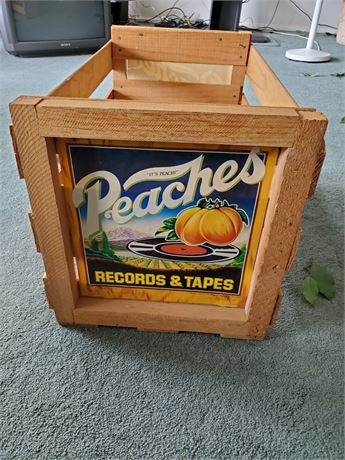 """Vintage """" Peaches """" Records + Tapes Crate IT'S PEACHY"""