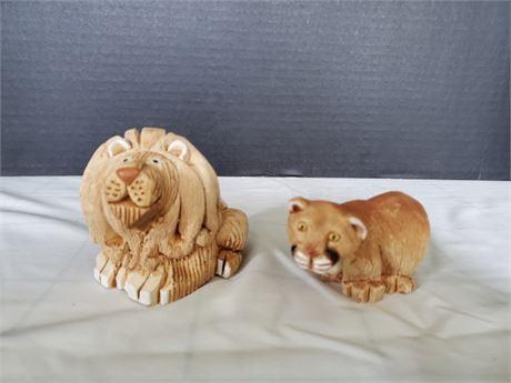Pottery Lion & Lioness