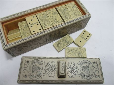 Antique Carved Complete Scrimshaw Ivory Dominoes Set w/ Box
