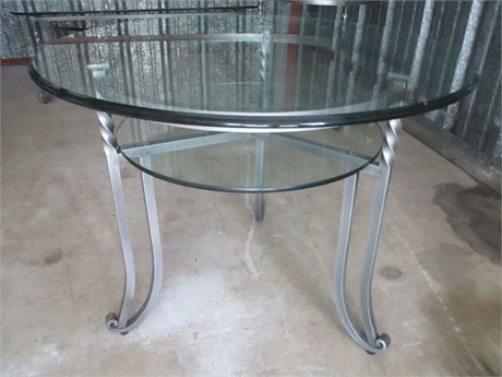 """New Modern Antiqued Pewter Smoked Glass 30"""" Round End Table"""