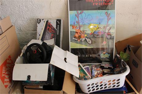 VHS, DVD, Video Games and Sponge Bob Poster