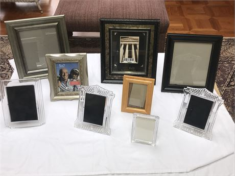 Picture Frame Lot including 3 Waterford Crystal Frames