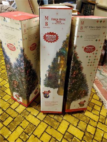 "3 Fiber Optic Christmas Trees 32"""