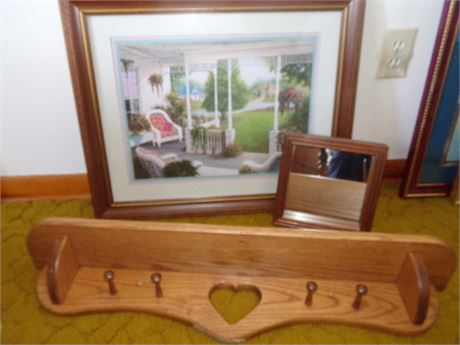 Framed Picture and Mirror and Wood Shelf
