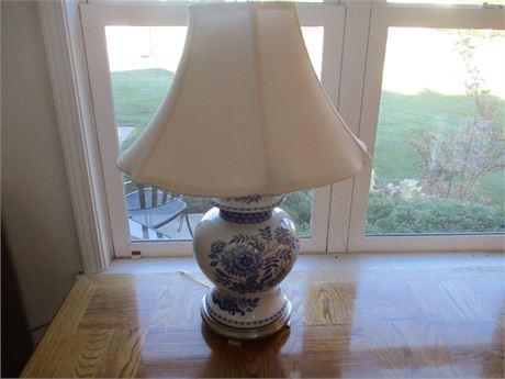 "Blue China Spode ""Jasmine "" Pattern Ginger Jar Lamp 25"""