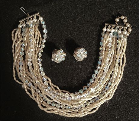 Freshwater Pearls & Crystal Beads Necklace Earring Set