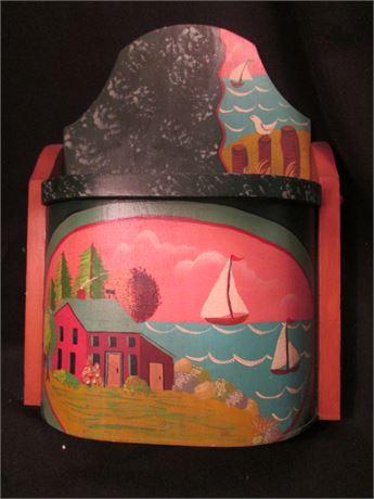 Original Artist Painted Craft Salt Box Dcoration