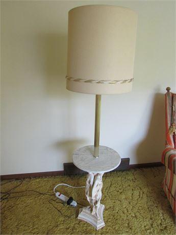 Vintage Greek Goddess Floor Lamp w/ Marble Table