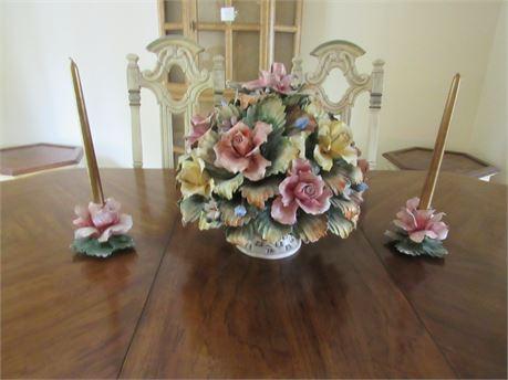 Capodimonte Flower Arrangement & Pair Candlesticks
