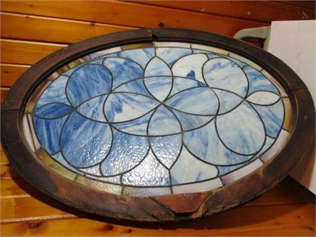 """Antique 19th Century 38"""" Oval Stained Leaded Glass Art Window"""