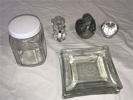 Glassware Lot including Paperweights and Ashtrays