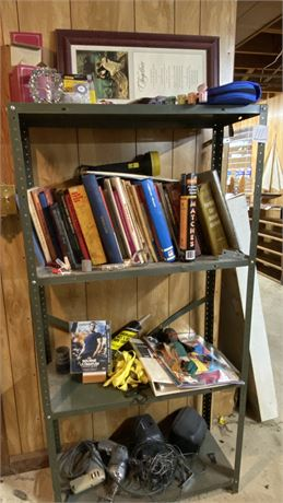 """Shelving Unit and All Contents inc Black & Decker 3/8"""" Utility Drill"""