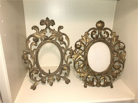 Unmatched Pair of Antique Brass Picture Frames