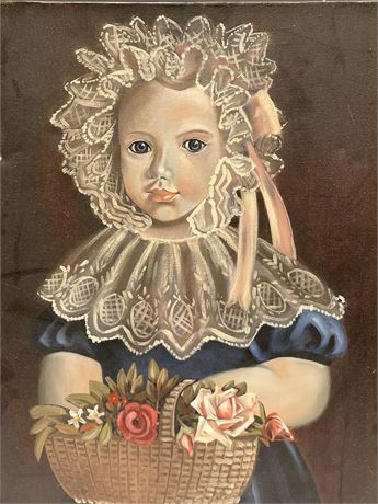 FOLK ART Style Oil on Canvas Painting of Girl With Back of Flowers
