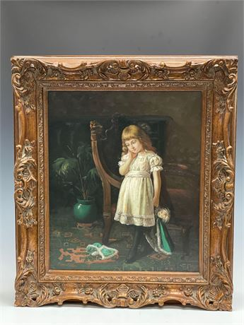 Oil On Canvas of Young Girl Holding her Doll in Ornate Frame