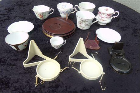 Tea cups, holders