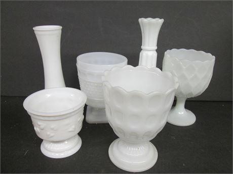 6 Pieces Fancy Milk Glass Collectibles Lot