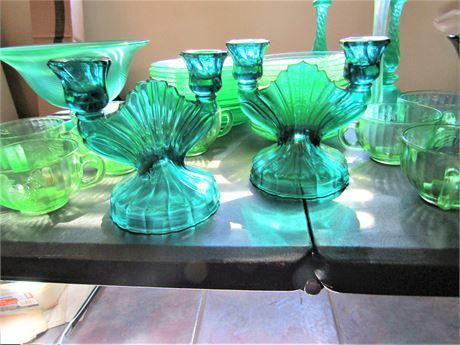 Vintage Green and Turquois Vaseline Glass Plates, Bowls, Candlesticks