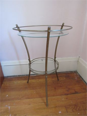 MCM 2 Tier Table with Glass Tops