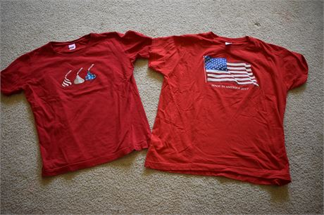 2 Red, White and Blue Women's tees-Size M and L