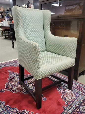 Wing Back Arm Chair Green and Tan Diamond Pattern