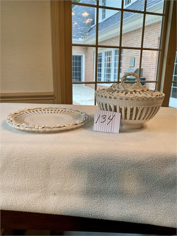 Intricate and Rare A. Zen Ceramic Bowl with Lid and Plate from Nove, Italy