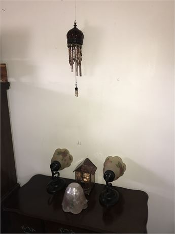 2 Hand Painted Lighted Sconces, Windchime & Glass Bird House