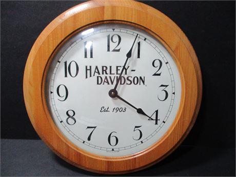 """Haley Davidson 12"""" Vintage wood Frame Battery Clock"""