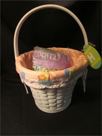 New Woven Pastel Lined Easter Basket