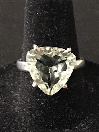 Green Amethyst set in Sterling Silver Ring