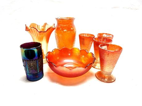 Carnival Glass Grouping Vases Tumblers Bowl Northwood Imperial