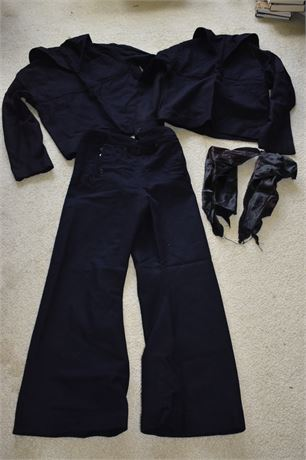 1970's Navy Blue Wool US Navy Uniform-2 tops/1 pant/2 dickies
