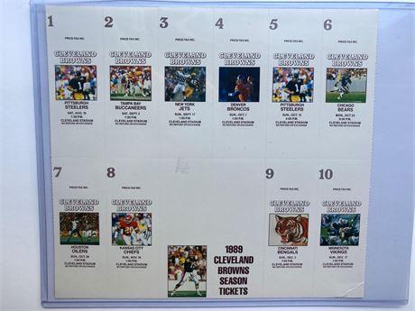 1989 Cleveland Browns Uncut Ticket Sheet