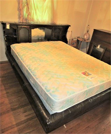 Queen Size Water Bed Frame and Curio Cabinet Headboard